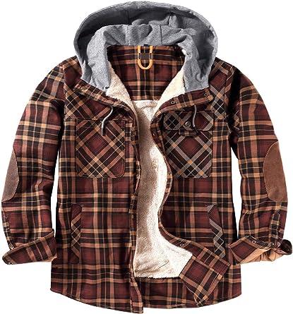 EUSMTD Hombre Casual Algodón Check Shirt Camisas Chaqueta con Capucha