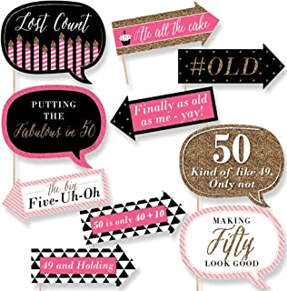 Big Dot of Happiness Funny Chic 50th Birthday - Pink, Black and Gold- Birthday Party Photo Booth Props Kit - 10 Piece