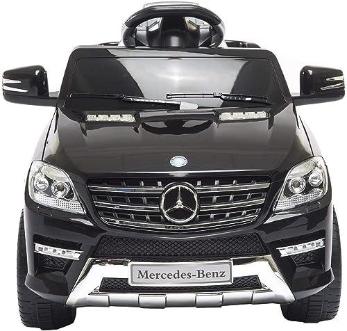 Mondial Toys Elektronisches Auto für Kinder 6V 2 Motoren mit Fernbedienung 2.4G Mercedes Benz ML 350 SUV Schwarz