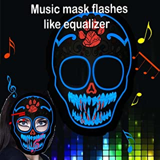 Music LED Party Mask with Sound Active for Dancing,Riding,Skating,Party and Any Festival