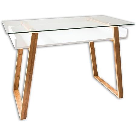 bonVIVO Massimo Glass and Bamboo Home Office Writing Desk, White
