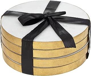 Godinger Silver Art Marble Coasters-gold Edge, Set of 4