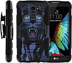 TurtleArmor | Compatible with LG K10 Case | LG Premier Case [Octo Guard] Dual Layer Silicone Hybrid Armor Hard Belt Clip Holster Impact Tough Kickstand Case Animal - Fierce Panther
