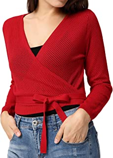 Curlbiuty Women Hollowed-Out Knit Shrug Long Sleeve Wrap Front Tie Bolero Tops CU0024