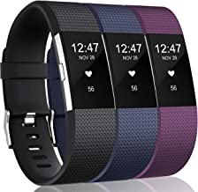 Wepro Bands Compatible with Fitbit Charge 2 HR, 3-Pack Adjustable Wrist Replacement Band for Women Men