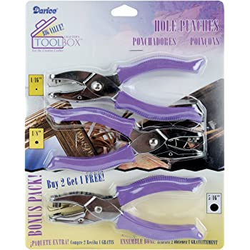 "Darice Soft-Handled Hole Punch Cut-Out Rounds Set – Includes 1/16"", 1/8"" and 5/16"" Hole Punches – Cage to Catch Scraps to Reduce Mess – for Scrapbooking, Cards, Crafts and More (Pack of 3 Punches)"