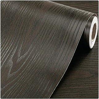 Vinyl Shiplap Brown Wood Grain Self Adhesive Wallpaper Contact Paper Waterproof Peel and Stick Wallpaper for Kitchen Count...