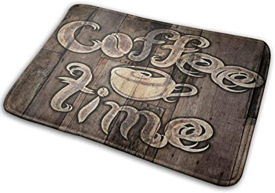 Decorative Doormat Home Decor Coffee Time Lettering Decorated Welcome Indoor Outdoor Entrance Bathroom Floor Mats Non Slip Washable Mat, 23.6 x 15.7 inch