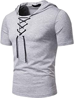 Comaba Men Strappy Pure Color Short Sleeve Stylish With Hooded Comfort T Shirt Tops