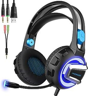 ゲーミングヘッドセットps4用 密閉型ヘッドホン【2019年最新版】 ヘッドフォンゲーム用 マイク&LED付き 高音質 ノイズキャンセリング 重低音強化 騒音 抑制 伸縮可能 PS4/ PC/Mac/スイッチ/スマホに対応 ギフト【ブルー】