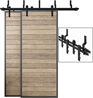 EaseLife 6 FT Bypass Double Door Sliding Barn Door Hardware Track Kit,Heavy Duty,Ultra Hard Sturdy,Slide Smoothly Quietly (6FT Track Double Door Bypass Kit)