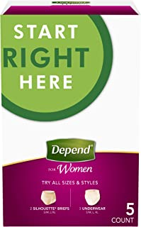 Depend for Women Incontinence Underwear, Maximum Absorbency, Variety Pack, 5 Count