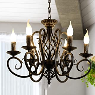 Ganeed Rustic French Country Chandelier,6 Lights Farmhouse Candle Iron Chandeliers,Vintage Metal Pendant Light Fixture for Kitchen Island,Dining Room,Bedroom