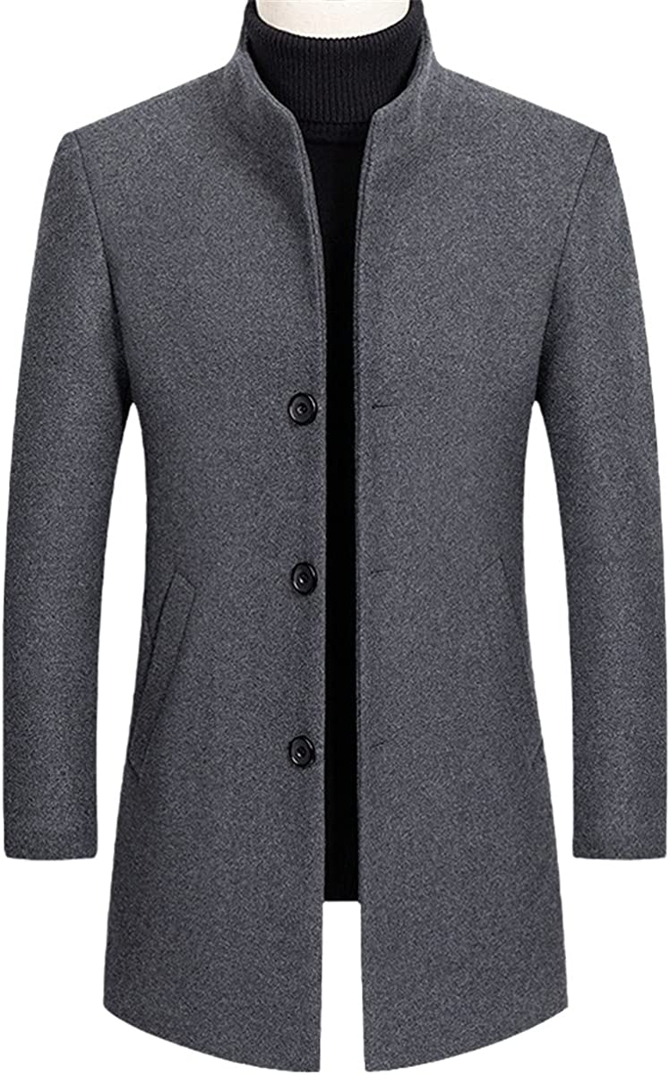 Men's Thick Jacket Stand Collar Fashion Wool Blended Jacket Jacket Casual Windbreaker