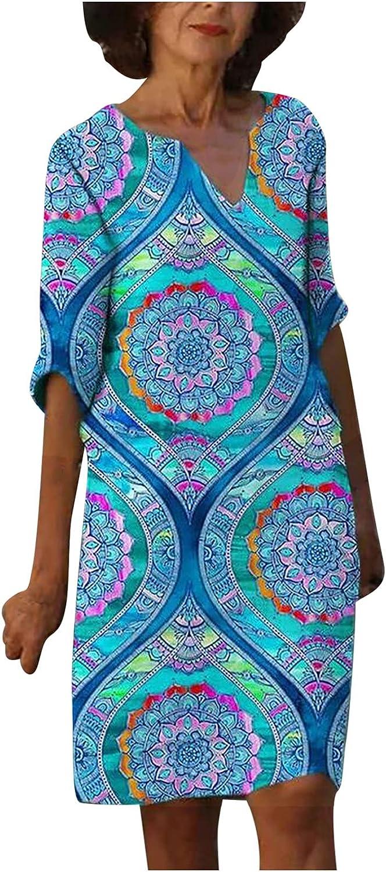 Summer Dresses for Women,Women Linen Dresses, Classic-Fit Plus Size Gauze Floral V Neck Short Sleeve Sun Dress