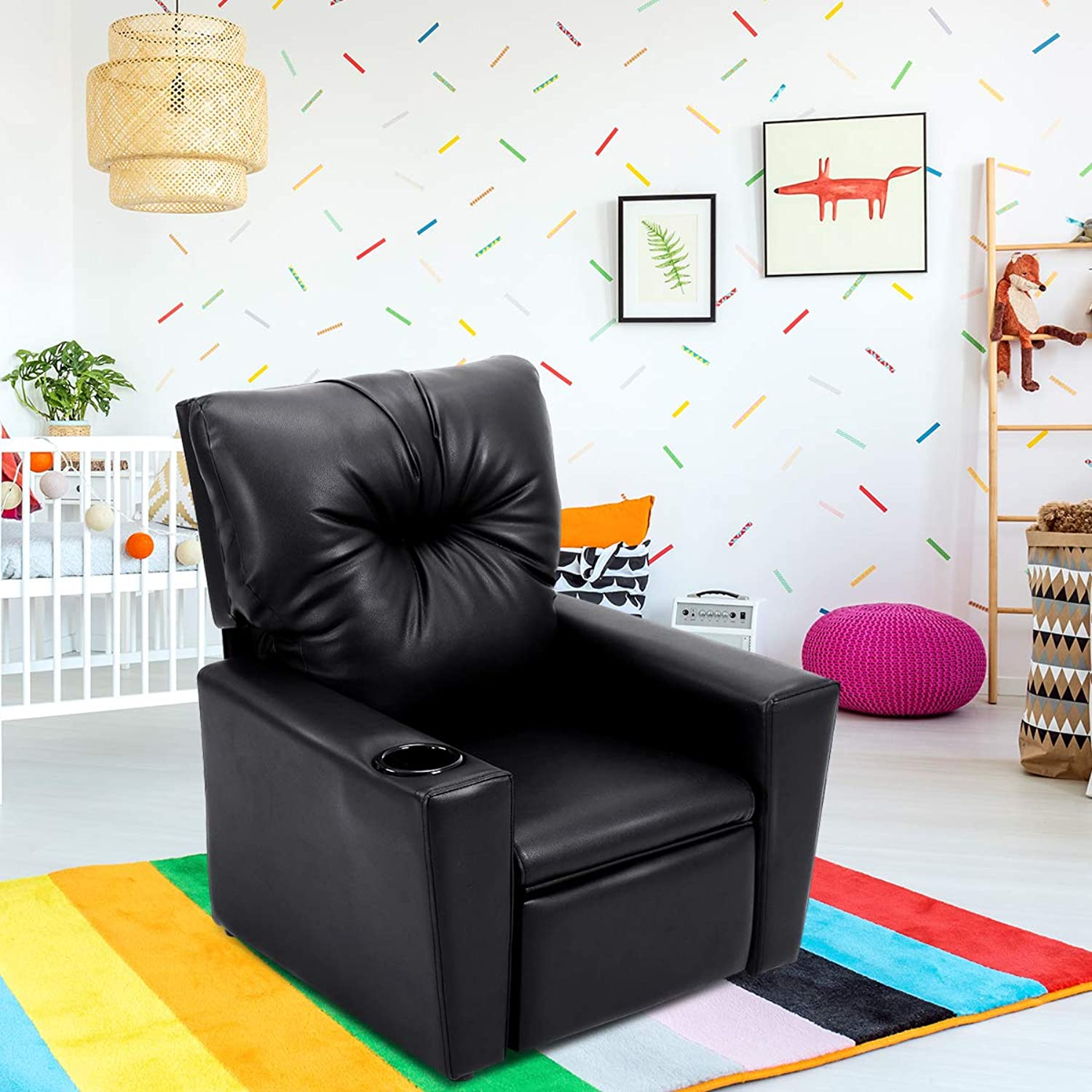 Costzon Kids Recliner Chair Manual PU Leather Reclining Seat w Cup Holder (Black)