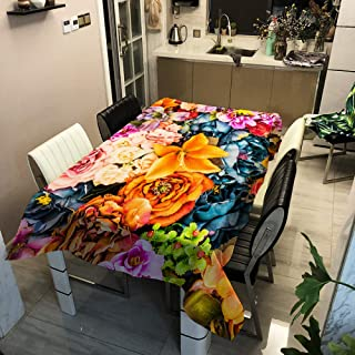 JUNJUN 3D Tablecloth Digital Printing Flower Pattern Polyester Waterproof Table Cloth for Wedding Party Table Cover 55x63i...