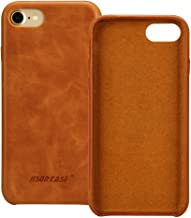 Jisoncase iPhone 7 Plus Case Genuine Leather Hard Back Case Slim Fit Protective Cover Snap on Case for iPhone 7 Plus [Saddle Brown]-JS-I7L-03A20