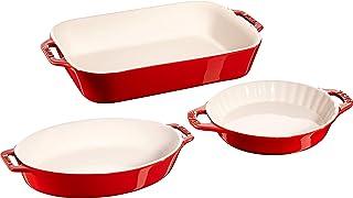 Staub Ceramic Baking Dish Set, 3pc, Cherry