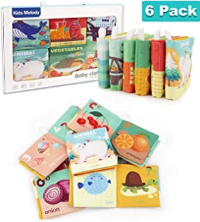 Hiverst Baby First Soft Activity Cloth Book Set, Interactive Crinkle Soft Book Bundle for Infants, Babies Early Education for Brain Development with Animals, Transportation, Foods - Packs of 6