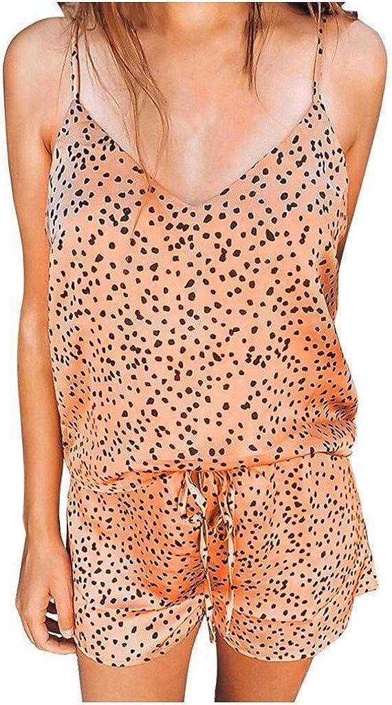 TOTOD Women Leopard Sleeveless V Neck Pajama Set Summer Home Lounge Top Short Suit Sleepwear