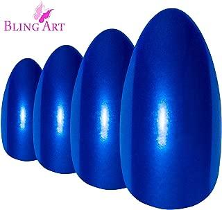 False Nails Bling Art Almond Fake Stiletto Blue Lagoon Acrylic 24 Long Tips Glue