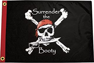 Surrender the Booty Pirate Flag - Classic Skull and Crossbones Design