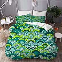 Mokale Duvet Cover Double Size,Minimal Snake Skin Scales Squama Background,3 Piece Bedding Set with 2 Pillowcases(Doona Co...