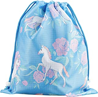 Designhoarder Magical Unicorn Birthday Party Favor Bags for Kids Adults 10 Pack Unicorn Baby Shower Princess Party Supplies Drawstring Goodie Bags Gift Bags Blue