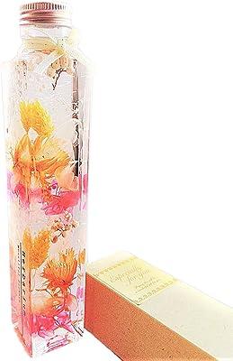 【プリザーブドフラワーLira】ハーバリウム 日本製 Lサイズ(高さ21,3cm) ギフトボックス入り プレゼント ギフト 贈り物 母の日 お祝い (角瓶・ジュリアオレンジ)