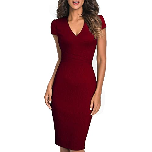 6e5eb1a75 HOMEYEE Women's Vintage Elegant V Neck Short Sleeve Floral Solid Color Knee  Length Office Dress B435