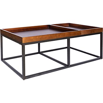 "Amazon Brand – Rivet Modern Industrial Coffee Table with Metal Base and Trays, 42.1""W, Walnut Finish"