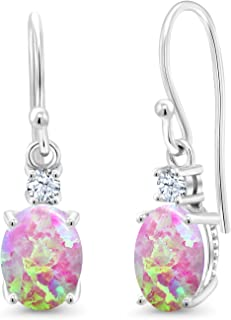 10K White Gold Dangle Earrings 2.20 Ct Cabochon Simulated Opal & Created Sapphire
