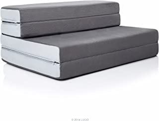 LUCID 4 Inch Folding Sofa and Play Mat - Comfortable and Durable Foam - Washable Cover - Full XL