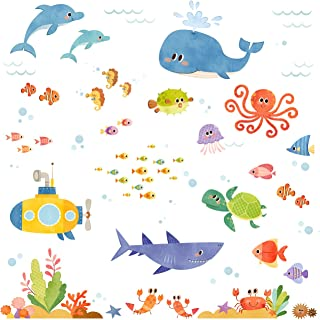 DECOWALL DW-1611S Sea Adventure Kids Wall Stickers Wall Decals Peel and Stick Removable Wall Stickers for Kids Nursery Bed...