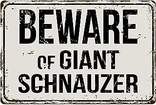 "Deerts 292VS Beware of Giant Schnauzer 8"" x 12"" Vintage Aluminum Retro Metal Sign"