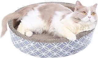 Vivaglory Cat Scratcher Lounge, Oval Cardboard Scratch Bed Scratching Box with Catnip