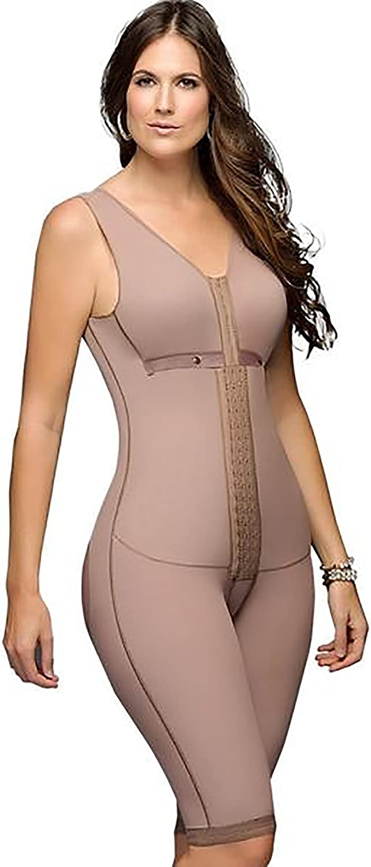 Fajas DPrada 11052 Women Post Surgery Girdle Full Body Shaper with Bra (Mocha, XLarge)