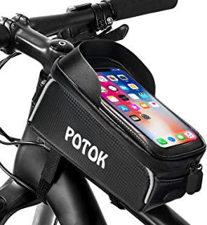 Potok Bicycle Phone Mount Bag, Waterproof Front Frame Bike Bags Sensitive Touch Screen Large Capacity Sun Visor Top Tube Bike Bag Compatible with iPhone Xs Max/ 8Plus, Galaxy Note 9