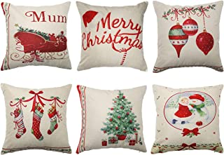 TOOL GADGET 6 Pack Christmas Decorative Pillows Covers, Snowman Christmas Tree Throw Pillow Case Sofa Couch Cushion Cover Pillowcase 18x18