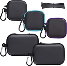 SUNMNS 5 Pieces Headphone Case Earphone Storage Bags with Carabiners and 100 Pieces Twist Cable Tie