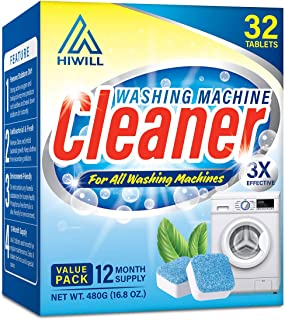 Hiwill Washing Machine Cleaner Effervescent Tablets, 32 Solid Deep Cleaning Tablet, Triple Decontamination Natural Biological Formula, for All Machines Including HE, No More Stinky Grimy Washer