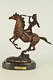 ...Handmade...European Bronze Sculpture Frederic Remington Indian Warrior Chief On Horse Western (63122) Bronze Sculpture Statues Figurine Nude Office & Home Décor Collectibles Sale Deal Gifts
