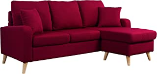 Divano Roma Furniture Mid Century Modern Linen Fabric Small Space Sectional Sofa with Reversible Chaise (Red)