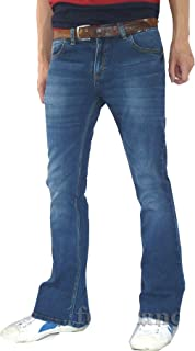 Fuzzdandy da Uomo Denim Bell Bottoms Flares Jeans 60s 70s Indie Hippie Svasato Sbiadito Blu