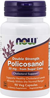 NOW Supplements, Policosanol 20 mg, Double Strength, Blend of Long-Chain Fatty alcohols (LCFAs) Derived from Sugar Cane, 9...
