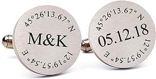 دکمه سر دست عروسی ضد زنگ حک شده مینی ویم ، حکاکی رایگان ، دکمه سر دست شخصی برای داماد ، هدیه جواهرات برای آقایان ، هدیه پدر عروس از عروس
