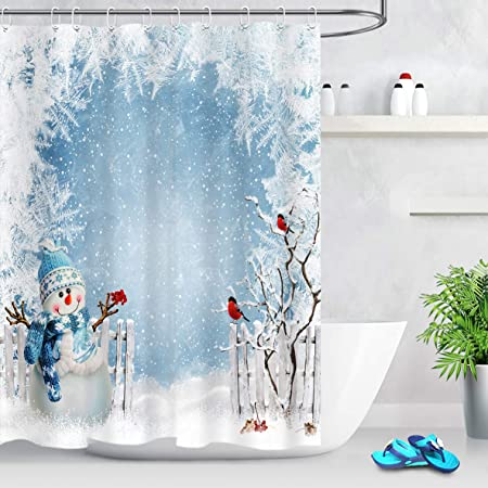 Details about  /Winter Shower Curtain Cute Penguins Merry Xmas Print for Bathroom