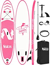 """Sponsored Ad - Naice Inflatable Stand Up Paddle Board, 10'6 × 30"""" × 6""""SUP w/Paddle, Detachable Fin, Air Pump w/Gauge, Safe..."""