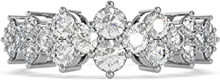 Frostrox Certified 14Kt White Gold 0.90 Cttw Round-Cut White (H-I Color, I2 Clarity) Alternating Diamond Cluster Ring